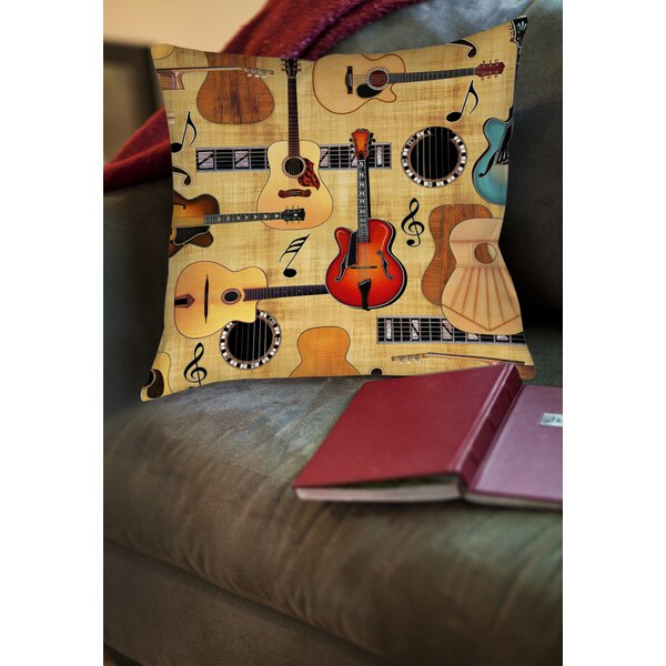Guitar Collage Cream Printed Throw Pillow by Manual Woodworkers & Weavers