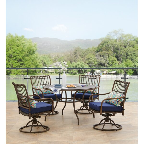 Ritchie 5 Piece Dining Set with Cushions Bayou Breeze W000778457