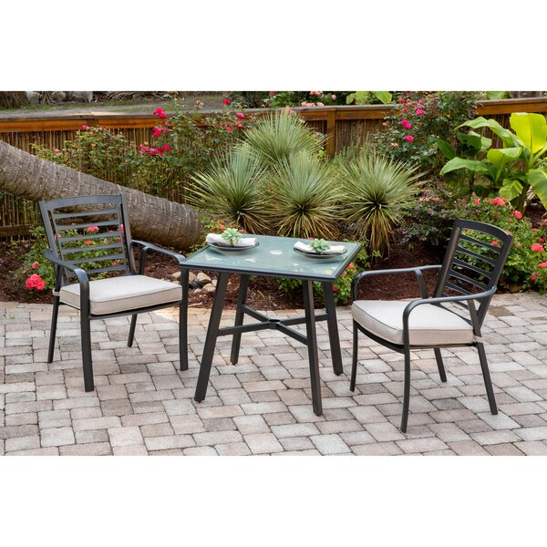 Leeson 3-Piece Commercial-Grade Bistro Set with 2 Cushioned Dining Chairs and a 30 inch  Square Glass-Top Table by Ebern Designs