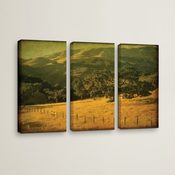 Oak And Fence 3 Piece Photographic Print on Wrapped Canvas Set by Loon Peak