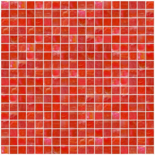 Iridescent 0.63 x 0.63 Glass Mosaic Tile in Red/Orange by Susan Jablon