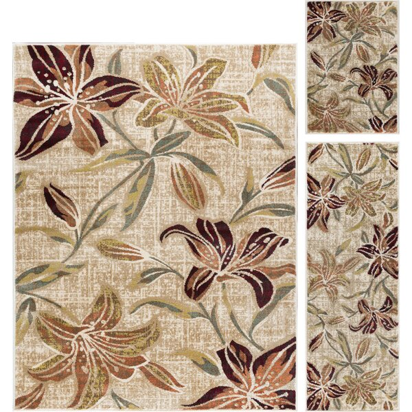 Highpoint Lily Transitional 3 Piece Cream Area Rug Set by Red Barrel Studio