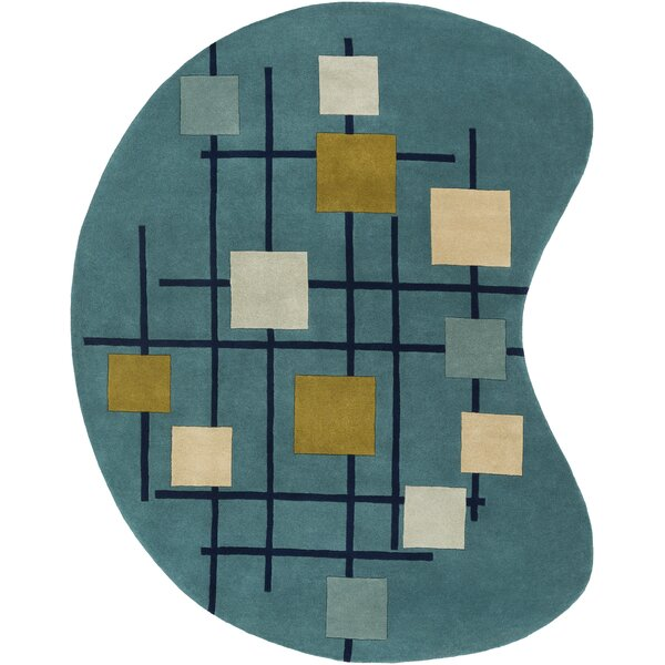 Dewald Hand-Tufted Teal Blue Area Rug by Ebern Designs