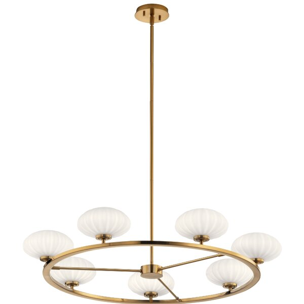 Marjorie 7 - Light Shaded Wagon Wheel LED Chandelier by Everly Quinn Everly Quinn