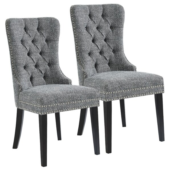 Meleze Multi Tone Fabric Upholstered Dining Chair (Set of 2) by House of Hampton