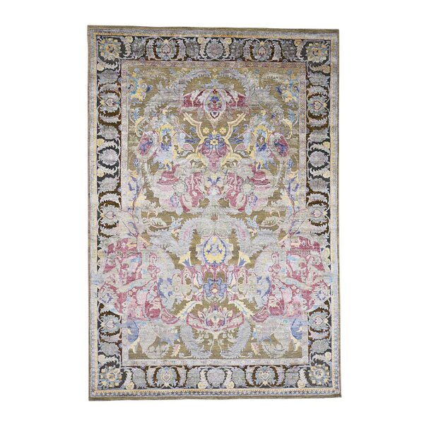 Crafts Oidized Oriental Hand-Knotted Silk Beige Area Rug by Bloomsbury Market