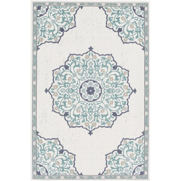 Dutcher Floral Teal/Ivory Indoor/Outdoor Area Rug by Bungalow Rose