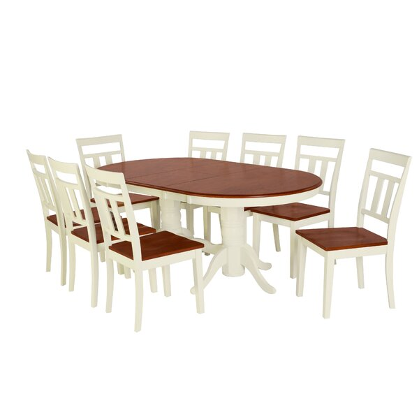 Alvy 9 Piece Solid Wood Dining Set by August Grove
