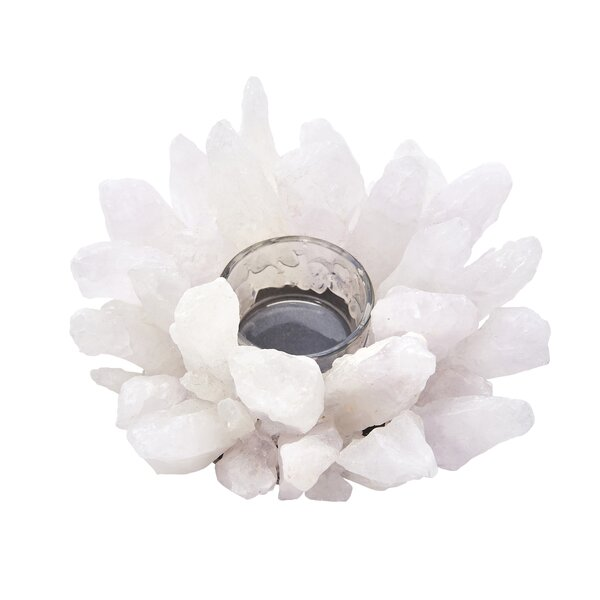 White Decorative Glass Tealight Holder by Everly Quinn