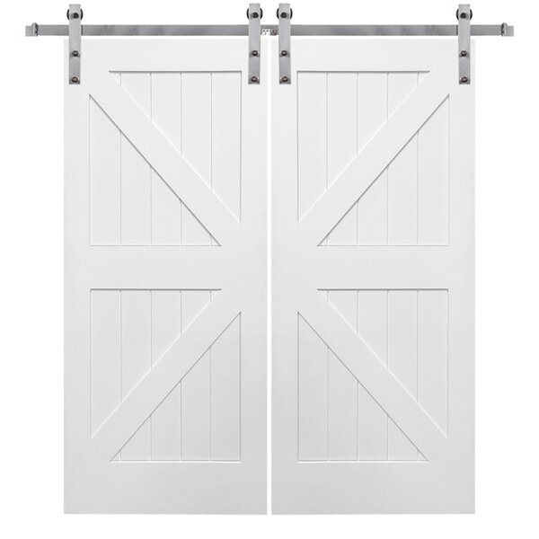 Double Stile and Rail K Planked MDF 4 Panel Interior Barn Door with Hardware by Verona Home Design