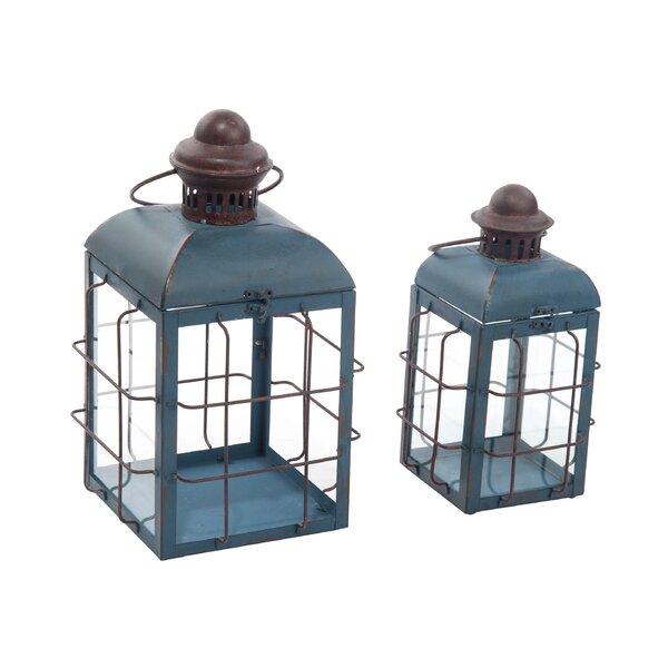Retro 2 Piece Iron/Glass Lantern Set by Williston Forge
