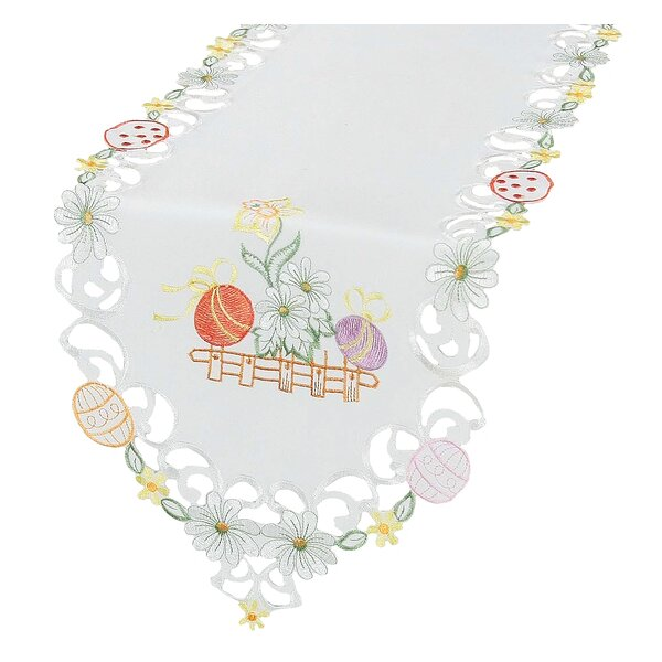 Country Egg Flowers Embroidered Cutwork Table Runner by The Holiday Aisle