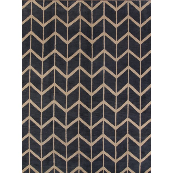 Ayler Oushak Oriental Hand-Knotted Wool Navy Blue/Cream Area Rug by Ivy Bronx