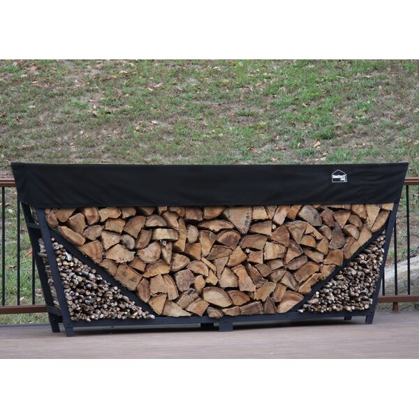 10' Slanted Firewood Log Rack With Kindling Kit And 1' Cover By ShelterIt