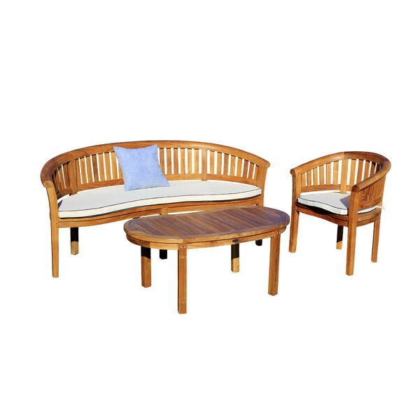 Balhi 3 Piece Teak Sofa Seating Group with Sunbrella Cushions by Loon Peak