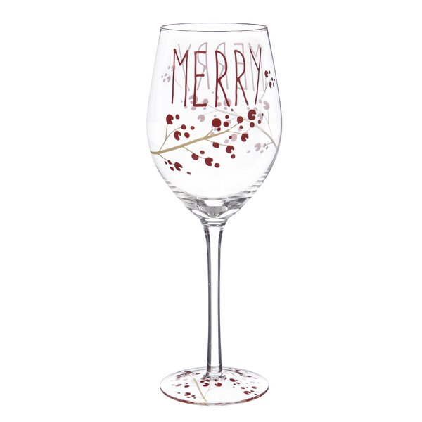 Elsa Holiday Farmhouse Glass 12 oz. All Purpose Wine Glass by The Holiday Aisle