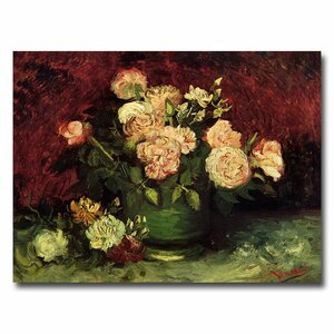 Peonies and Roses by Claude Monet Painting Print on Wrapped Canvas by Trademark Fine Art