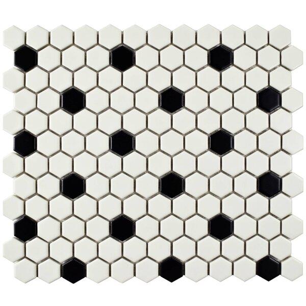 Retro 0.88 x 0.88 Porcelain Mosaic Tile in Matte White/Black by EliteTile