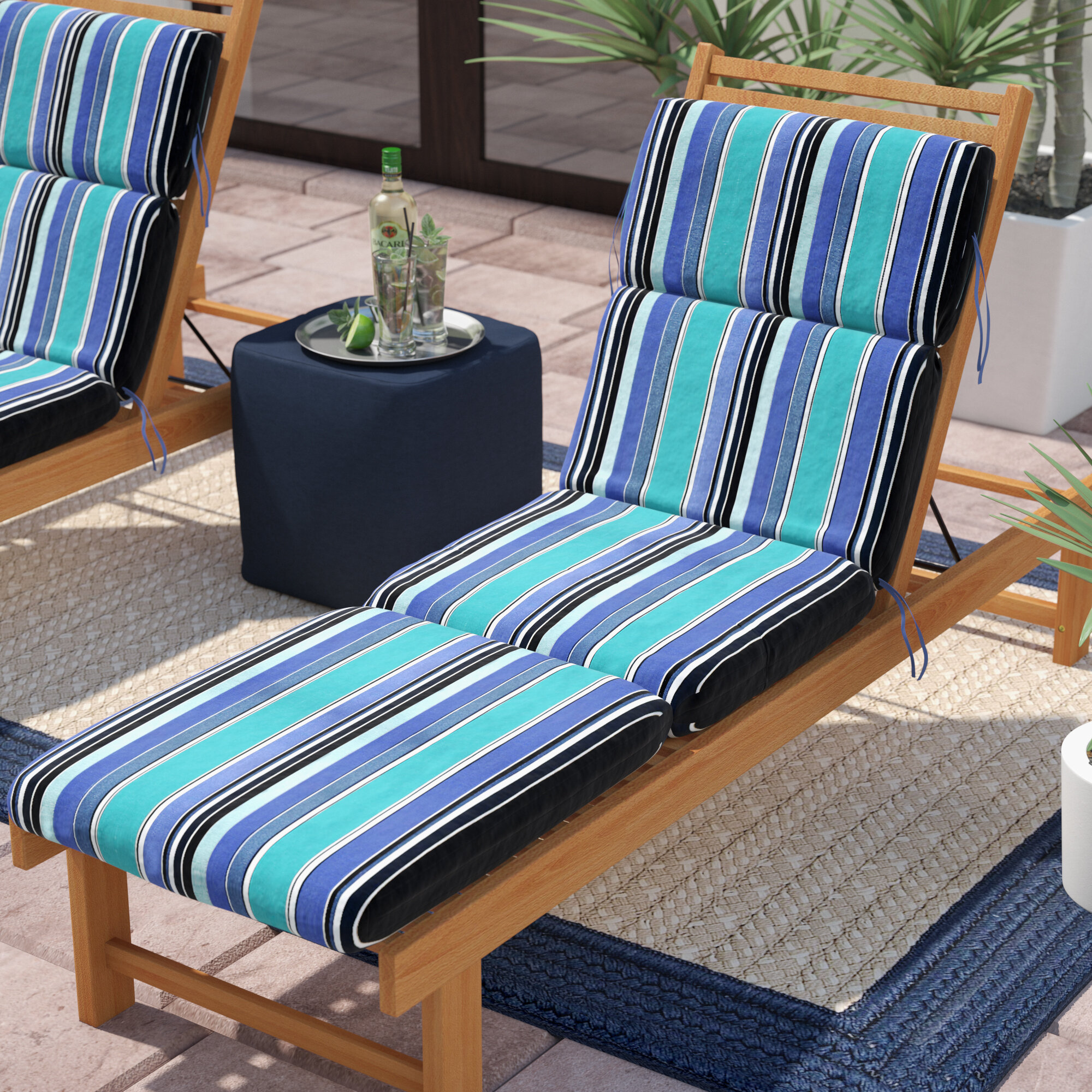 - Beachcrest Home Dolce Oasis Indoor/Outdoor Sunbrella Chaise Lounge