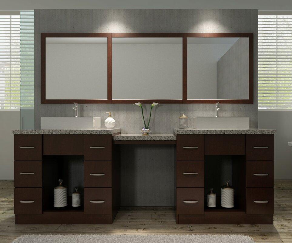 double sink vanity with makeup table. Roosevelt 97  Double Sink Vanity Set With Mirror And Makeup Table Ariel Bath