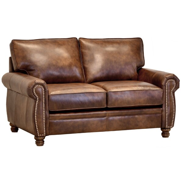 Made In Usa Miltiades Brown Top Grain Leather Loveseat By Charlton Home