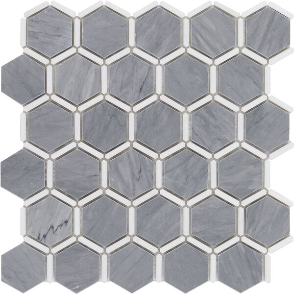 Ambrosia 2 x 2 Marble Mosaic Tile in Gray/White by Splashback Tile