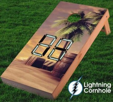 Electronic Scoring Palm Tree Cornhole Board by Lightning Cornhole