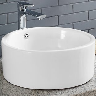 Top Monaco Ceramic Circular Vessel Bathroom Sink with Overflow By Swiss Madison