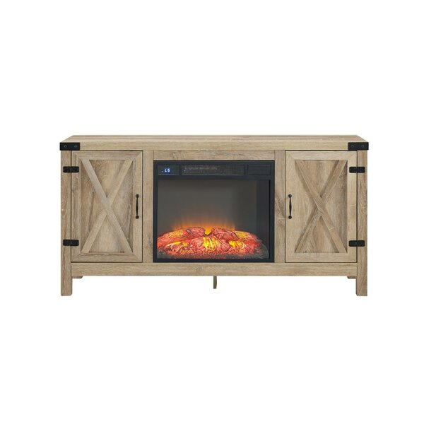 Richburg Blonde 58 TV Stand with Fireplace by Loon Peak