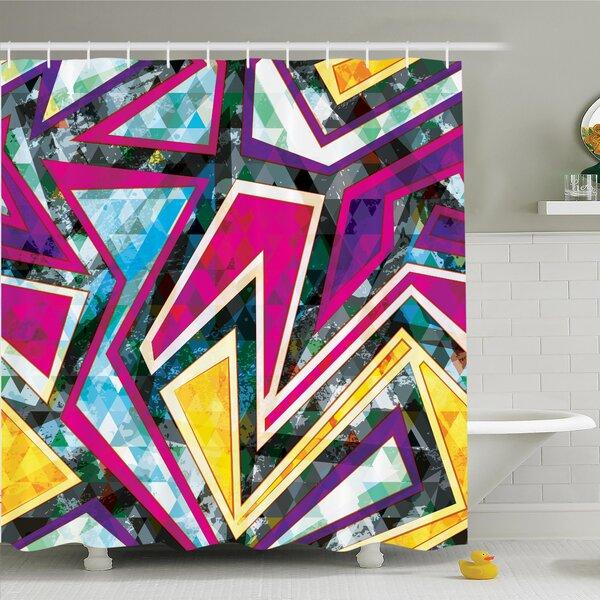 Nathanael Geometric Diamond Shower Curtain Set by Latitude Run