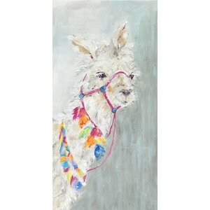 'Sweet Llama' by Susan Pepe Painting Print on Wrapped Canvas by GreenBox Art