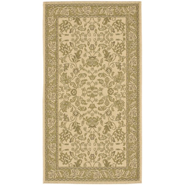 Short Cream / Olive Outdoor Area Rug by Winston Porter