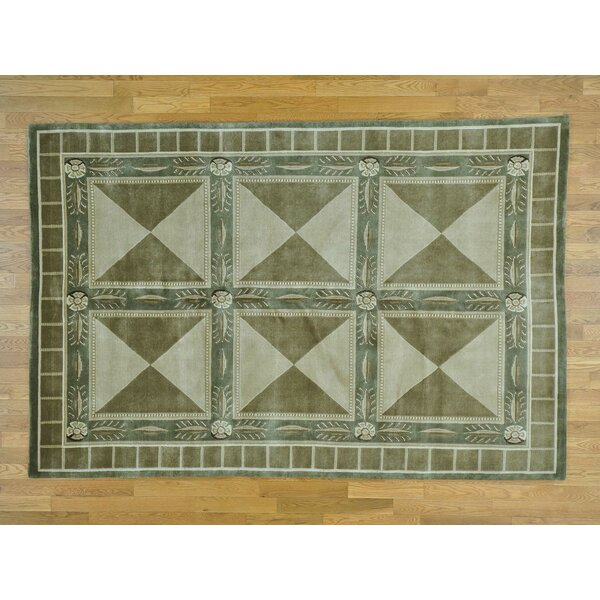 One-of-a-Kind Beverly Versace Design Hand-Knotted Green Wool Area Rug by Isabelline