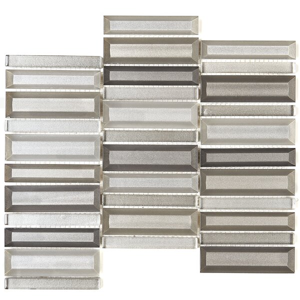 1 x 4 Glass Mosaic Tile in Silver Surge St by Itona Tile