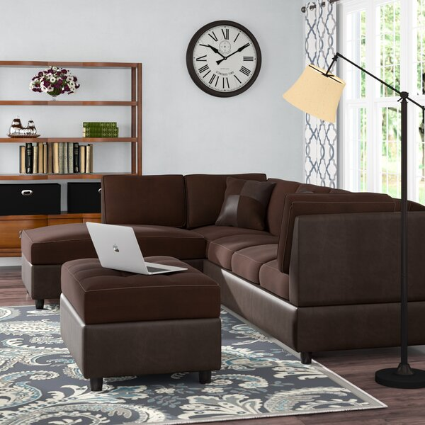 Modern Beautiful Meece Reversible Sectional with Ottoman by Andover Mills by Andover Mills