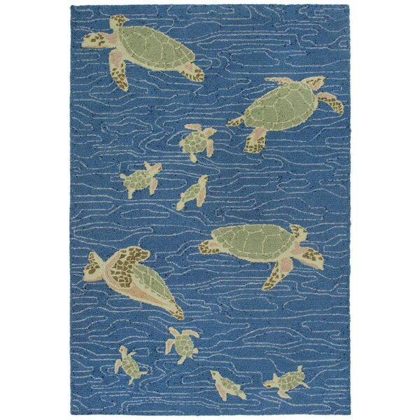 Nancee Sea Turtles Hand-Tufted Blue/Green Area Rug by Highland Dunes