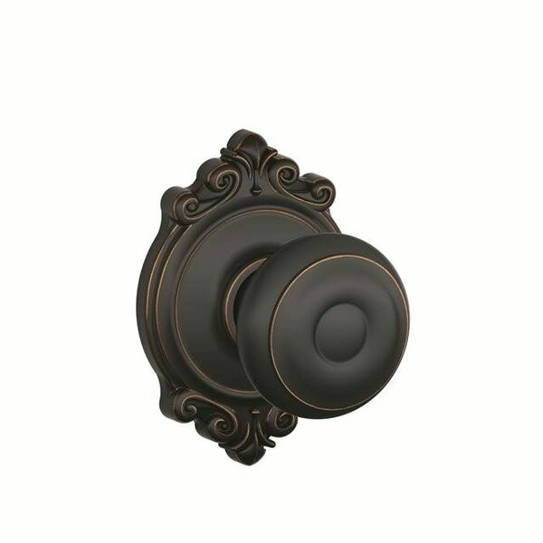 Interior Non-Turning Georgian Knob and Interior Inactive Deadbolt Thumbturn with Brookshire Trim by Schlage