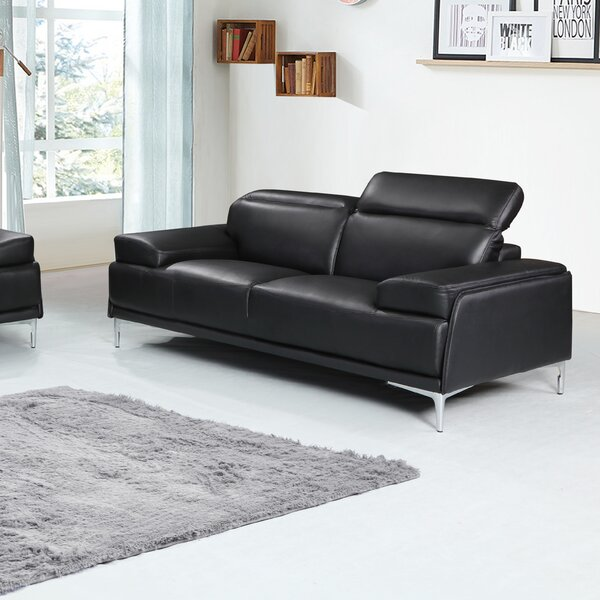 Modern Brand Karlin Leather Loveseat by Orren Ellis by Orren Ellis