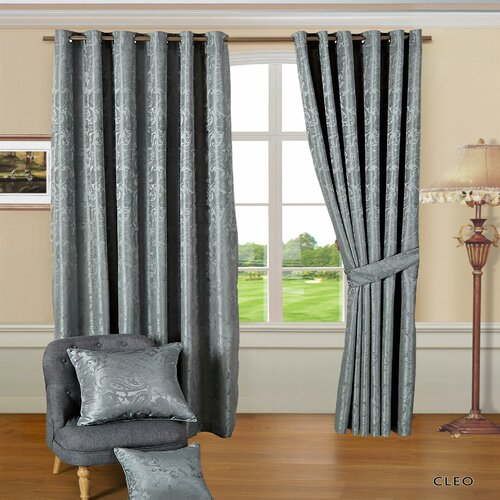 Cleo Eyelet Room Darkening Thermal Curtains Textile Home Panel Size: Width 168cm x Drop 137cm, Colour: Silver