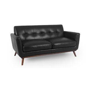 Luther Mid-Century Leather Loveseat