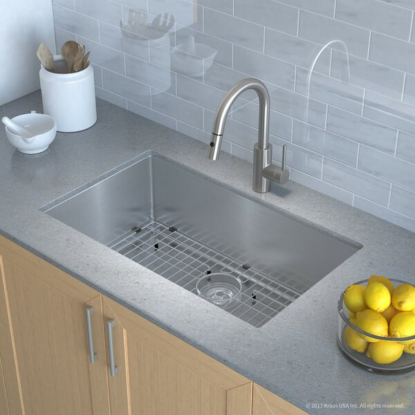 """Handmade Series 30"""" x 18"""" Undermount Kitchen Sink with Faucet and Soap Dispenser by Kraus"""