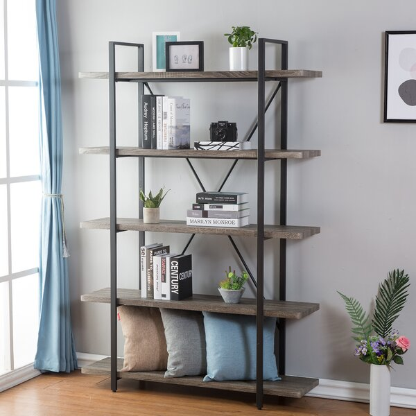 Nordheim 5-Shelf Industrial and Rustic Etagere Bookcase by Gracie Oaks