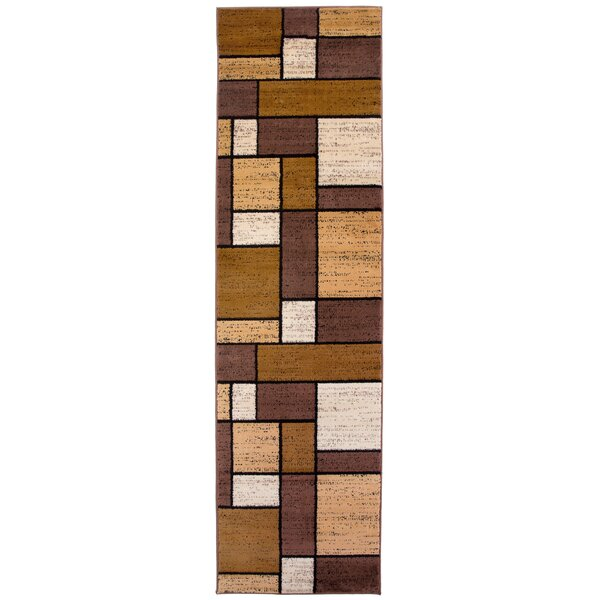 Barroso Boxes Brown Area Rug by Wade Logan