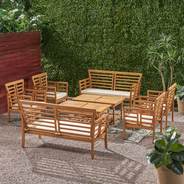 Lionel Outdoor Modern Acacia Wood 8 Seater Chat Set With Cushions by Bayou Breeze