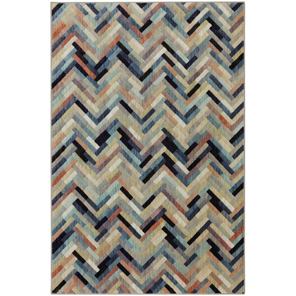 Mccowan Power Loomed Blue/Ivory/Coral Area Rug by Latitude Run