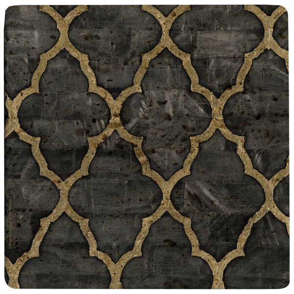Mother of Pearl Ebony Travertine Ambiance Trivet by Thirstystone