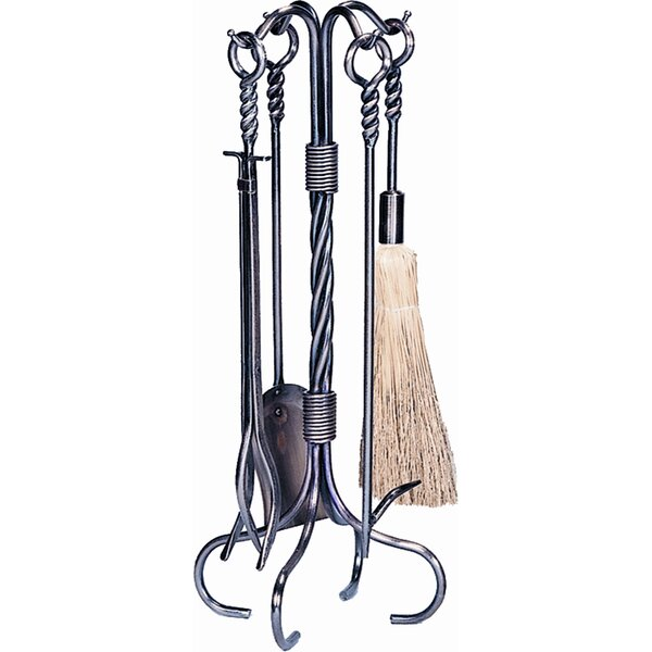 4 Piece Antique Copper Fireplace Tool Set With Stand by Uniflame Corporation