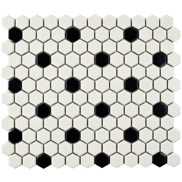 Retro 0.88 X 0.88 Porcelain Mosaic Tile In Matte White/black By Elitetile.