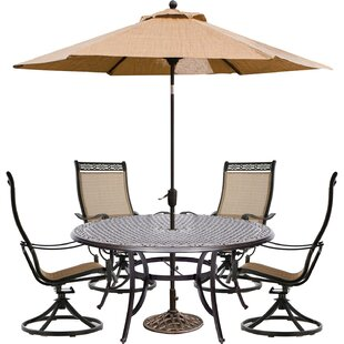 Buariki 5 Piece Dining Set with Umbrella By Fleur De Lis Living