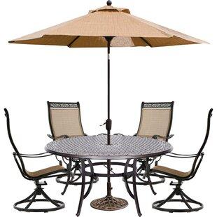 Buariki 5 Piece Dining Set with Umbrella ByFleur De Lis Living